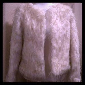 NWOT Off White Faux Fur Jacket